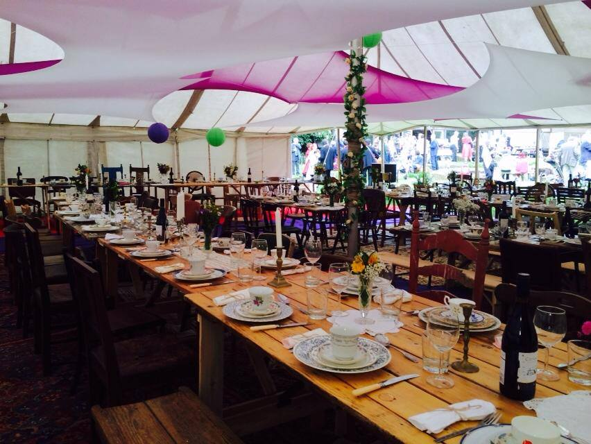 BathVintageWeddingHire-trestle-tables-marquee-dinner