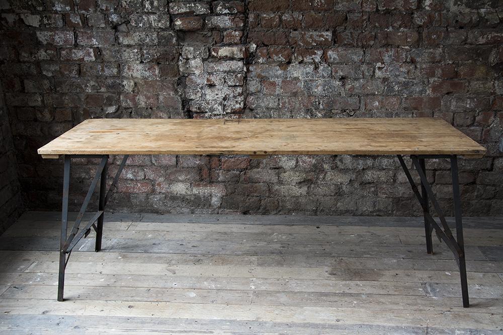 Description: Lovely Vintage Wooden Trestle Tables With Folding Metal Legs,  Seats 6 Part 11