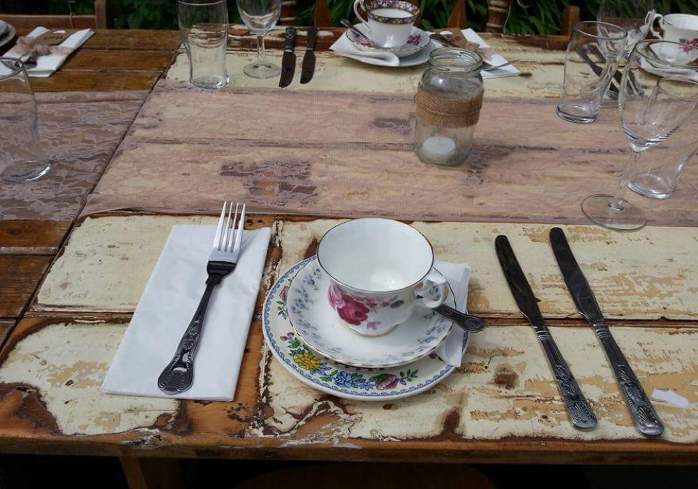 Bath Vintage Company tables and Heartfelt Crockery